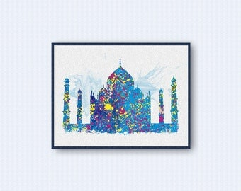 Taj Mahal Watercolor Poster