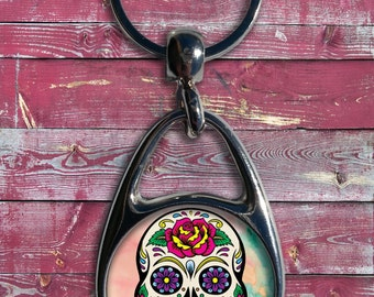 Sugar Skull Personalized Metal Key Chain /Day of the Dead /Dia de los Muertos /Skull /Hers /Womens /Key Ring /For Her /Customized /Gift