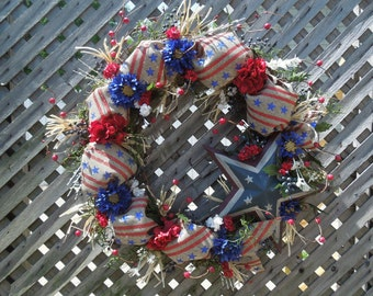 "24"" 4th of July- Red,White,Blue Star and Berrie Wreath"