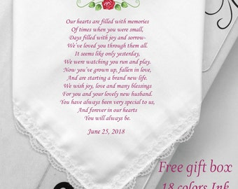 Wedding Hanky Gifts For My Granddaughter Or My Daughter Or Aunt To Niece -Custom Bride Printed Handkerchiefs Gifts-Free Gift Box/HY1180