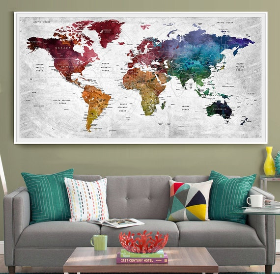 Push Pin Travel Map of the World Personalized Home Decor Wall