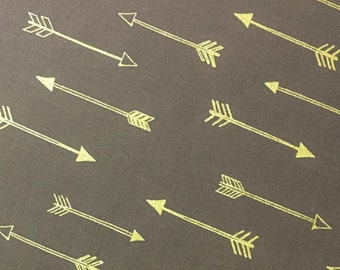 Gold Arrow on Taupe Gray Fabric, Premium Metallic Gold and Shades of Gray Collection 100% Cotton Quilt Fabric by the Yard