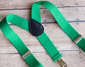Green Suspenders for Kids- Boys Suspenders - Baby Suspenders - Toddler Boys Suspenders - Baby Boy Suspenders - Wedding Outfit