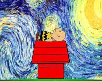 Peanuts Cartoon,  Starry Night print,  nursery art print, van Gogh print,  Charlie Brown,  children art,  kids Decore,  nursery print