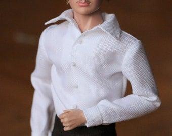 Handmade Ken doll clothes - WHITE Dress Shirt (Long Sleeves)