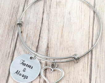 Forever And Always, Bangle Bracelet, Wife Gifts, Anniversary Jewelry, Bride Bracelet, Wedding Day Gifts, Valentine's Day, Gift From Husband