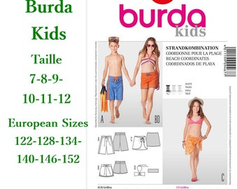 Burda, 9467, Beach coordinates, semi-fitted, 7-12, 4 models, 6 sizes, new, uncut, never used