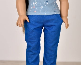 Denim Jeans 18 inch doll clothes Color Turquoise