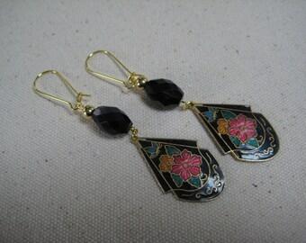 Vintage Floral Cloisonne Earrings, Assemblage, Dangle, Drop, Multi Color, Enamel, Earrings,Red,Yellow, Black,Repurposed,Recycled,Vintage/E59
