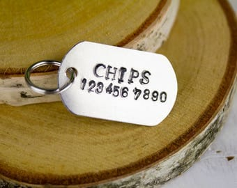 Mini Hand-stamped Dog Tag // Dog Identification Tag // Hand-stamped Custom Pet I.D