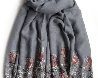 Light Grey scarf with embroidered paisley patterns - Long and light weight embroidery scarf for spring, summer and fall