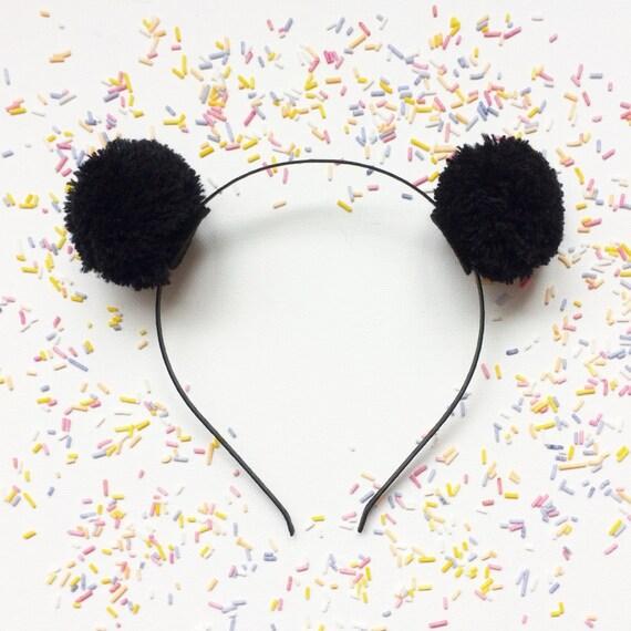Black Pom Pom Bear Ears   Pom Pom Panda Headband