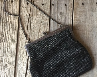 Vintage black, seedbead purse with chain and ballsnap closure - fabric lined vintage flapper
