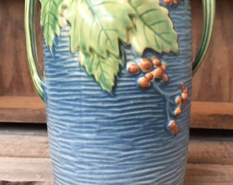 Stunning vintage Roseville Pottery Vase in the Bushberry design vintage vessel antique botanical vase collectors item