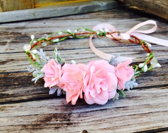 Flower crown blush Flower Girl Crown Flower Girl headpiece flower crown toddler baby flower crown flower crown wedding flower crown baby