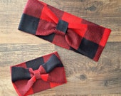 Mommy and Me Headwrap Set - Buffalo Plaid Fleece Headwrap - 4 child sizes available - red and black plaid turban headband ear warmer