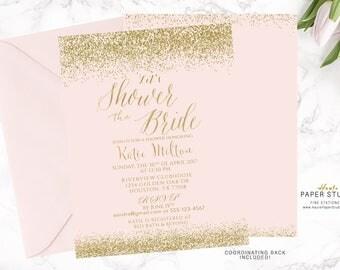 Pink Gold Bridal Shower Invitation, Custom Bridal Invite, Quinceanera Invite, Confetti Shower Invitation, Printable Shower Invitation, BR095