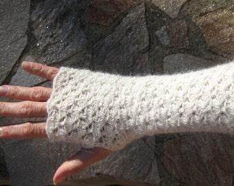 Winter Mittens fingerless gloves crocheted warmers knitted crochet wool lace alpaca steampunk victorian crochet wedding bridal cuffs