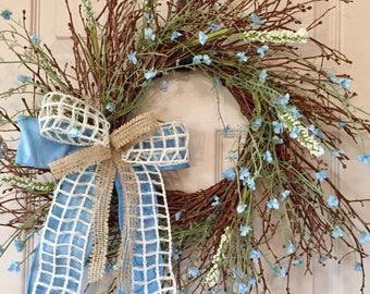 Blue and Cream Blueberry Sunburst Vine Wreath; Country Primitive Rustic Door Decor Grapevine Wreath; Blue Cream Twig Wreath Spring Wreath