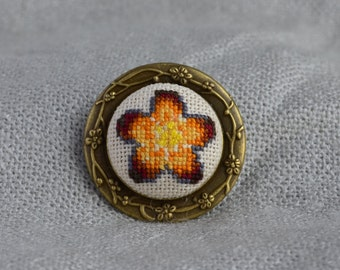 Orange flower brooch Hand embroidery Embroidered jewelry Embroidered flower Cross stitch brooch Gift for her Round brooch Orange brooch