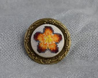 Orange flower brooch Hand embroidery Embroidered jewelry Embroidered flower Cross stitch brooch Gift for her Round brooch Orange brooch
