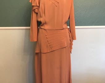 1940's Muted Peach Jean DeLane Original Dress L 30 Waist