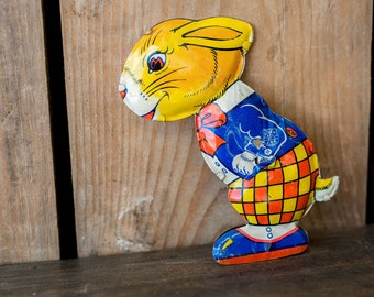 Vintage 1950's J Chein Tin Bunny Rabbit - Easter Bunny Toy - Colourful Tin Toy Bunny Rabbit - J Chein & Co