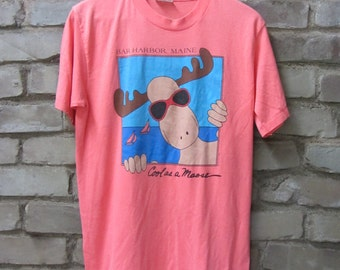 Vintage 80's Bar Harbor Maine Cool as A Moose souvenir t-shirt light pink peach color t-shirt super soft thin Moose hipster tee - Medium