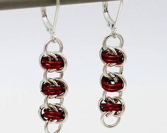 Silver Plated Chainmaille Earrings, Red Earrings, Silver Earrings, Silver Plated Earrings, Chain Mail Earrings, Chainmail Earrings