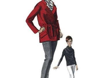 Vintage 1960s Vogue Couturier Design 1350 Sewing Pattern Galitzine Wrap Jacket Cowl Blouse Pants Size 10