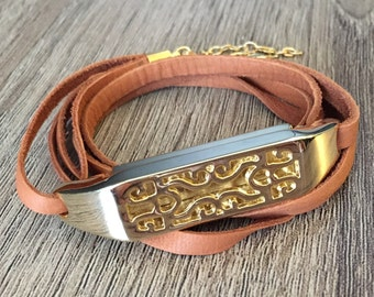 Light Brown Leather  Bracelet for Fitbit Flex 2  Activity Tracker Handmade Gold Metal Multi Wrap Bangle Gold Fitbit Flex 2 Jewelry Band