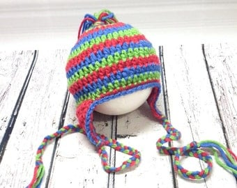 Child CAP, tuque to crochet, hat, earmuffs, winter hat, baby, knit, Pompom, colorful Hat tuque Cap