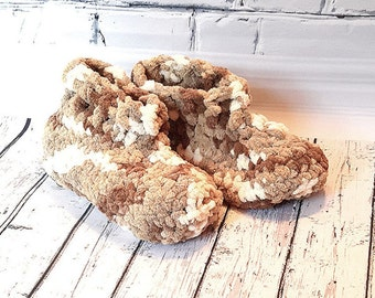 Slippers chunky, comfortable slippers, slippers beige, woman, crochet, soft wool slippers