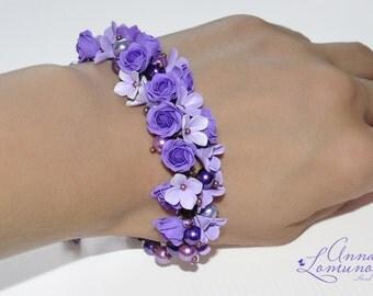 Purple floral Bracelet Floral Bracelet Purple Rose bracelet Purple Flower bracelet Violet floral Bracelet Purple Polymer clay jewelry gift