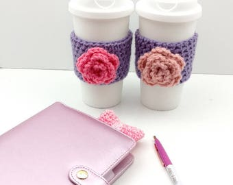 Purple Crochet Cup Cozy: Coffee/Tea Sleeve with flower (Pink or Light Pink)    [045]