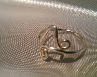 sterling silver ring , wire ring , adjustable ring