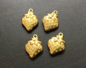 Strawberry Charm | Gold Plated Brass Charms | Handmade Jewelry Making Supplies |Pendant Bracelet Earrings | Gold finding (11x13mm) 4pcs CH11