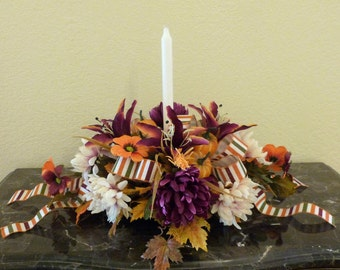 Fall Floral Arrangement, Fall Candle Centerpiece, Fall Table Arrangement with Lilies