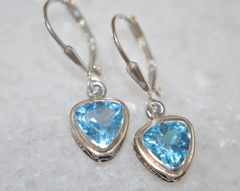 Trillion Shape Swiss Blue Topaz and Sterling Silver Dangle Earrings with Leverbacks