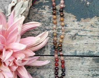 Prosperity Mala Necklace, 108 Mala, Good Luck Mala Beads, Wealth Prayer Beads, Yoga, Meditation, Healing Crystal 108 Mala for JOY + SUCCESS