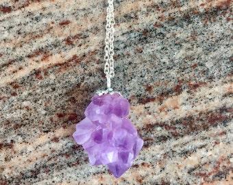 Hand Soldered Amethyst cluster necklace