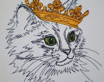 Machine embroidery design Royal portraits. Cat - for white and pastel shades materials - cat embroidery - crown embroidery - cat and crown
