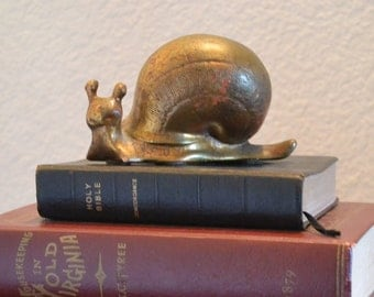 """Vintage Gold Leaf Patina Ceramic Snail Figure with Shell, 2"""" x 4"""""""