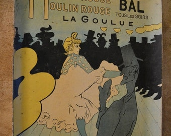 Vintage Bar Tray, Dancing Moulin Rouge Scene by Toulouse Lautrec, Wire Spring on back for Wall Hanging