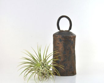 Antique Cow Bell, Hand Forged Copper Bell, Vintage Bell, Rusty Metal Bell, Primitive Farmhouse Decor, Traditional Bell,  European Bell