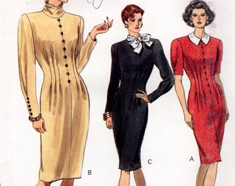 Free Us Ship Sewing Pattern Vogue 7657 Vintage Retro 1980's 80s Dress Collar Variations  Size 12 14 16 Bust 34 36 38 Uncut