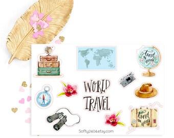 Wanderlust sticker, Aloha,  life planner sticker for kikki k, filofax or erin condren, travel sticker