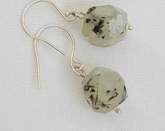 Green prehnite and sterling silver earrings. Faceted prehnite and sterling silver. Simple grapestone earrings. Made in Australia