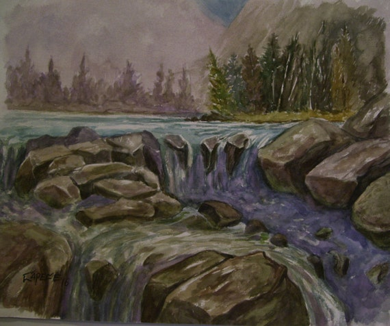 Rocky Waterfall,16x20 Original Watercolor,ONE OF A KIND, Not a Print,Free Shipping Code SKYE2