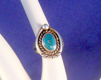Navajo Handmade Ring Sterling Silver Turquoise Size 4 Native American Handmade Ring Southwestern Jewelry Gift For Her